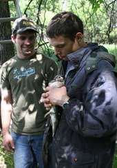 Natural Resource students with wood duck